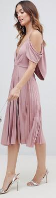 cowl pleated dress